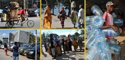 Locals in Dar Es Salaam, transporting different items in different ways.  Of course, the most intriguing is how they transport such huge items on their heads with great balance and agility.  One guys was carrying a refrigerator on his head! [bottom, left pic]