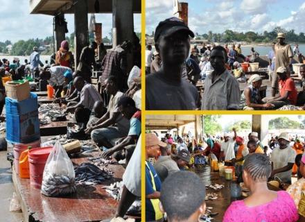 Locals at the fish market.