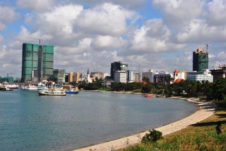 Dar Es Salaam bordered by the Indian Ocean