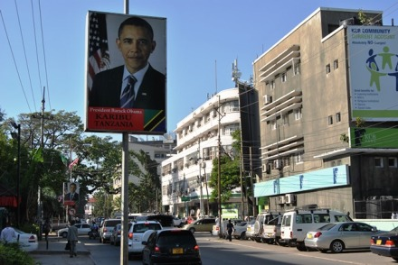The posters welcoming President Obama that lined the streets in Dar Es Salaam