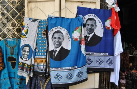 """""""Khangas"""" with President Obama's image on them at a local souvenir shop."""