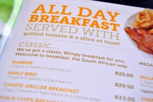 Our menu from Wimpy's