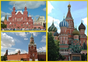 Kremlin and St. Basil's Cathedral in Red Square in Moscow