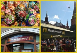 Top Left: Traditional Russian Souvenirs Bottom Left & Right: McDonald's at the Red Square