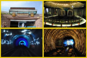 Top Left: Entrance to The Bund Sightseeing Tunnel To Right: Single Cart Trains used to travel through the tunnel Bottom Left & Right: Pictures from the Tunnel light show
