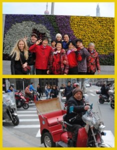 Top: The Red-wearing, nice-Chinese-old-lady Clan (lol) Bottom:  Locals riding mopeds and bicycles