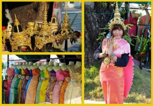 Traditional Thai Dresses and Head pieces usually worn in dance
