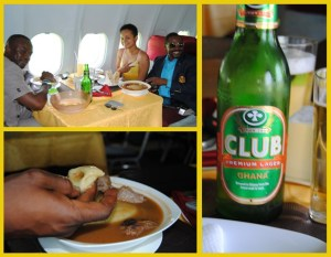 Left:  dinning buddies and fou fou with stew Right: Local Ghanian beer