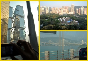 Left:  Lippo Center Towers Right: View from my hotel room and Ting Kau Bridge