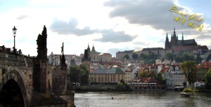 Vltava River with Charles Bridge (left) and the view of Prague Castle (top right)