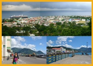 (top) View of Roseau from Morne Bruce (bottom) Bayfront in Roseau and Roseau Cruise Ship Berth